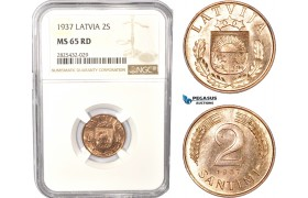 AC472-R, Latvia, 2 Santimi 1937, NGC MS65RD