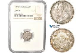 AC477-R, South Africa (ZAR) Threepence (3P) 1895, Pretoria, Silver, NGC XF45