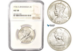 AC478-R, Southern Rhodesia, George V, 2 Shillings 1936, Silver, NGC AU58