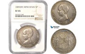 AC479-R, Spain, Alfonso XIII, 5 Pesetas 1889 (89) M-PM, Madrid, Silver, NGC XF45