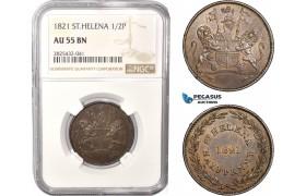 AC480-R, Saint Helena (British East India Company) Half Penny 1821, NGC AU55BN