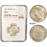 AC481, Straits Settlements, Victoria, 20 Cents 1891, Silver, NGC MS61