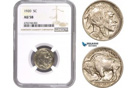 AC484-R, United States, Buffalo Nickel (5C) 1920, Philadelphia, NGC AU58