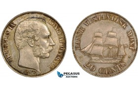 AC486-R, Danish West Indies, Christian IX, 20 Cents 1878, Copenhagen, Silver, Toned UNC (Old cleaning)