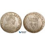 AC487, France, Louis XIV, 1/2 Ecu 1655 (9) Rennes, Silver (13.61g) Lustrous AU (light cleaning)