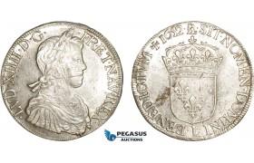 AC488, France, Louis XIV, Ecu 1652-L, Bayonne, Silver (27.25g) Lustrous AU (cleaned)