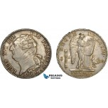 AC489, France, Louis XVI, Ecu 1792-A, Paris, Silver, Toned & Lustrous XF-AU (Adjustments)