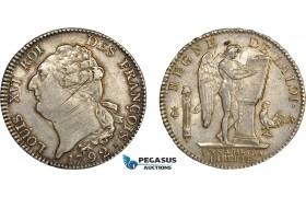 AC489, France, Louis XVI, Ecu 1792-A, Paris, Silver, Toned & Lustrous XF-AU (Adjustments)