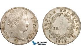 AC490, France, Napoleon, 5 Francs 1813-L, Bayonne, Silver, Cleaned AU