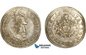 AC499, Hungary, Leopold I, 15 Krajczar 1664-KB, Kremnitz, Silver (6.19g) Toned AU-UNC