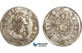 AC500, Hungary, Leopold I, 15 Krajczar 1665-KB, Kremnitz, Silver (6.32g) Toned AU-UNC