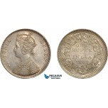 AC501, India (British) Victoria, 1 Rupee 1862-B, Bombay, Silver, AU-UNC (Lightly cleaned)