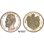 AC504, Romania, Carol I, 5 Lei 1881-B, Bucharest, Silver