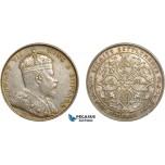 AC509, Straits Settlements, Edward VII, 1 Dollar 1907-B, Bombay, Silver, Cleaned AU