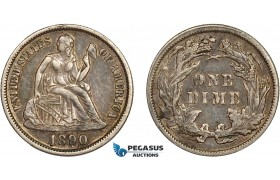 AC512-R, United States, Liberty Seated Dime (10C) 1890, Philadelphia, Silver, Toned AU