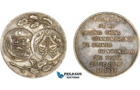 AC514, China & Peru, Silver Medal 1921 (Ø29.7mm, 12.4g) Colonists' Centennial of Peruvian Independence L&M-997, Rare!