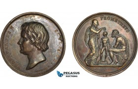 AC515, Denmark & Italy, Bronze Medal 1837 (Ø54.5mm, 69g) by Galeazzi, Bertel Thorvaldsen, Prometheus, Athena