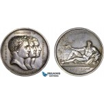 AC516, France & Russia, Silver Medal 1807 (1840's strike) (Ø40.5mm, 36.3g) by Andrieu, Peace of Tilsit, Rare!