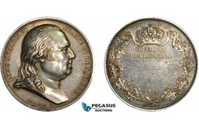 AC517, France, Louis XVIII, Silver Medal 1819 (Ø40.5mm, 42.2g) by Andrieu & Puymaurin, Champer of Deputies