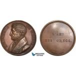 AC521, Greece & France, Bronze Medal 1830 (Ø42mm, 36.1g) by Peuvrier, Gabriel Eynard, Friend of the Greeks