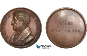 AC521, Greece & France, Bronze Medal 1830 (Ø42mm, 36.1g) by Peuvrier, Gabriel Eynard, Friend of the Greeks