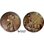 AC522, Italy, Bronze Restrike Medal (1447) (Ø86mm, 267g) by Pisanello, Cecilia Gonzaga, Unicorn
