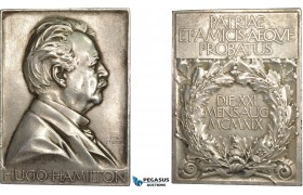 AC528, Sweden, Silver Plaque Medal 1920 (67x47mm, 93.3g) by Lindberg, Hugo Hamilton, Minister for Civil Affairs