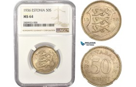 AC543, Estonia, 50 Senti 1936, NGC MS64