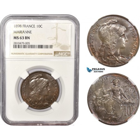 AC545, France, Third Republic, 10 Centimes 1898 (Marianne) NGC MS63BN