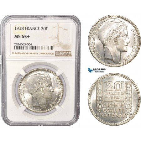 AC546, France, Third Republic, 20 Francs 1938, Paris, Silver, NGC MS65+, Pop 1/0