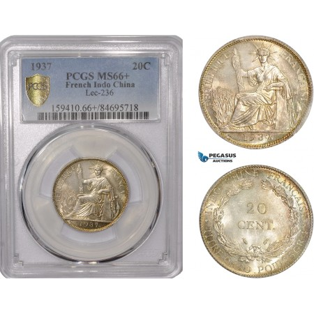 AC547, French Indo-China, 20 Centimes 1937, Silver, PCGS MS66+