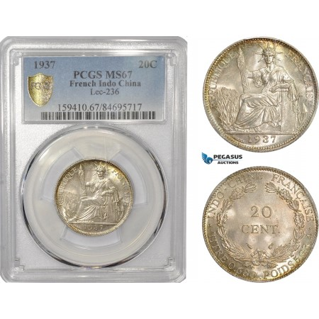 AC548, French Indo-China, 20 Centimes 1937, Silver, PCGS MS67, Top Pop (Scratched Slab)