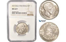 AC549, Iraq, Faisal I, 50 Fils AH1352/1933, London, SIlver, NGC MS62+, Pop 1/0, Rare!