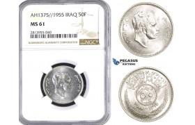 AC550, Iraq, Faisal II, 50 Fils AH1375/1955, Silver, NGC MS61