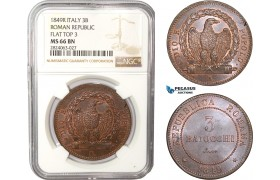 AC551, Italy, Roman Republic, 3 Baiocchi 1849-R, Rome, NGC MS66BN (Flat top 3) Pop 1/0