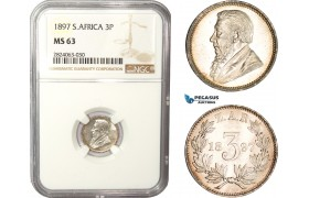 AC554, South Africa (ZAR) Threepence (3p) 1897, Pretoria, Silver, NGC MS63