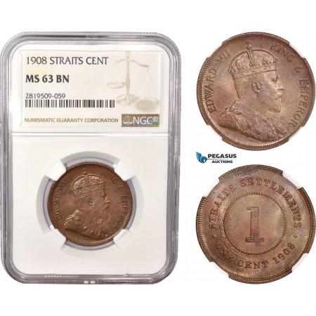 AC555, Straits Settlements, Edward VII, 1 Cent 1908, NGC MS63BN