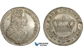 AC557, Denmark, Christian VI, 4 Mark (Krone) 1731 CW, Copenhagen, Silver, VF-XF