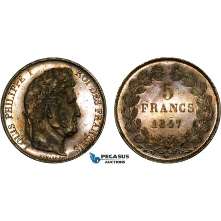 AC559, France, Louis Philippe I, 5 Francs 1847-A, Paris, Silver, Toned Ch Prooflike /Proof?