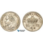 AC560, France, Napoleon III, 50 Centimes 1868-BB, Strasbourg, Silver, VF