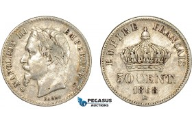 AC560, France, Napoleon III, 50 Centimes 1868-BB, Strasbourg, Silver, VF