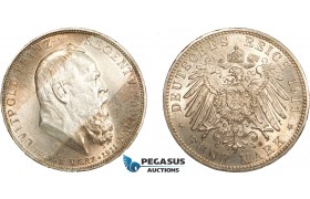AC561, Germany, Bavaria, Luipold (Prince Regent) 5 Mark 1911-D, Munich, Silver, UNC (Minimal cleaning)