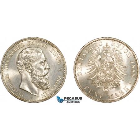 AC562, Germany, Prussia, Friedrich 5 Mark 1888-A, Berlin, Silver, Ch UNC (Obv. Min. Cleaned)