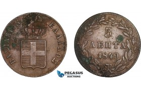 AC564, Greece, Othon, 5 Lepta 1849, Athens, XF-AU (Partly corroded, verdegris spots)