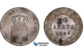 AC565, Greece, Othon, 10 Lepta 1846, Athens, aUNC (Flaw, Spots)