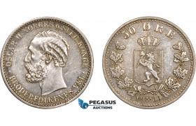 AC566, Norway, Oscar II, 50 Øre 1900, Kongsberg, Silver, Cleaned XF-AU