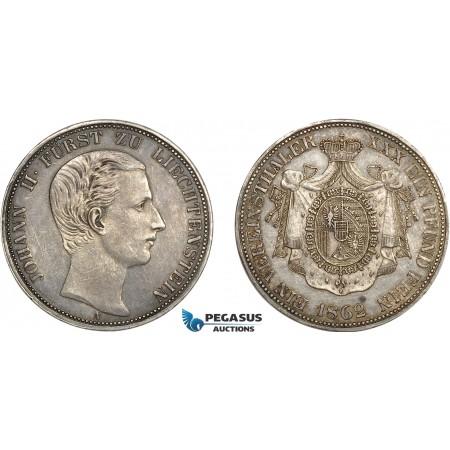 AC567, Liechtenstein, Johann II, 1 Vereinstaler 1862-A, Vienna, Silver, XF-AU (Lightly cleaned) Rare!