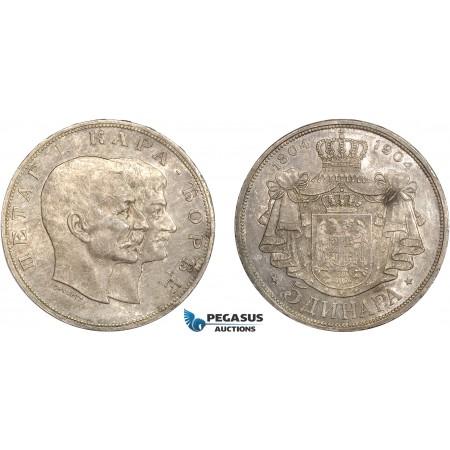 AC568, Serbia, Petar I, 5 Dinara 1904, Silver, Cleaned AU