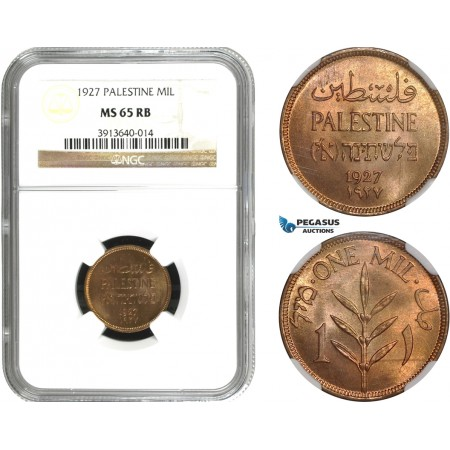 AC572, Palestine, 1 Mil 1927, London, NGC MS65RB