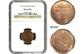 AC573, Palestine, 1 Mil 1927, London, NGC MS65RD